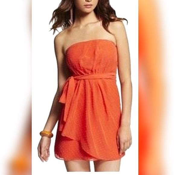 🌈3/$15 Express Orange Cip Dot Chiffon Dress SZ2